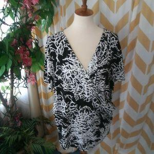 Talbots Plus Size 2X Black White faux wrap top